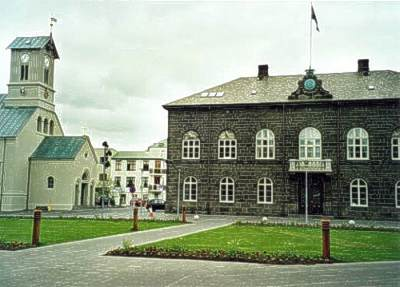 Iceland's parliament House, at Austurvollur in Reykjavik, built in 1880-1881. Home of one of the oldest still-acting parliaments in the world. Reykjavik althing.jpg