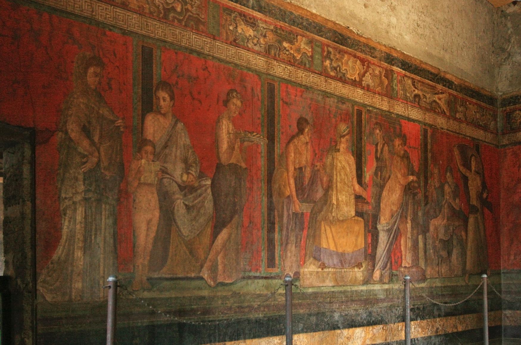 File roman fresco villa dei misteri pompeii for Definicion de pintura mural