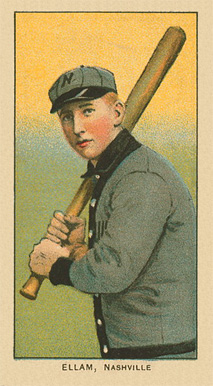 A baseball card of a man in a gray baseball uniform trimmed with black stands facing the left, holding his bat, preparing to swing.