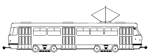 Раскраска трамвай татра
