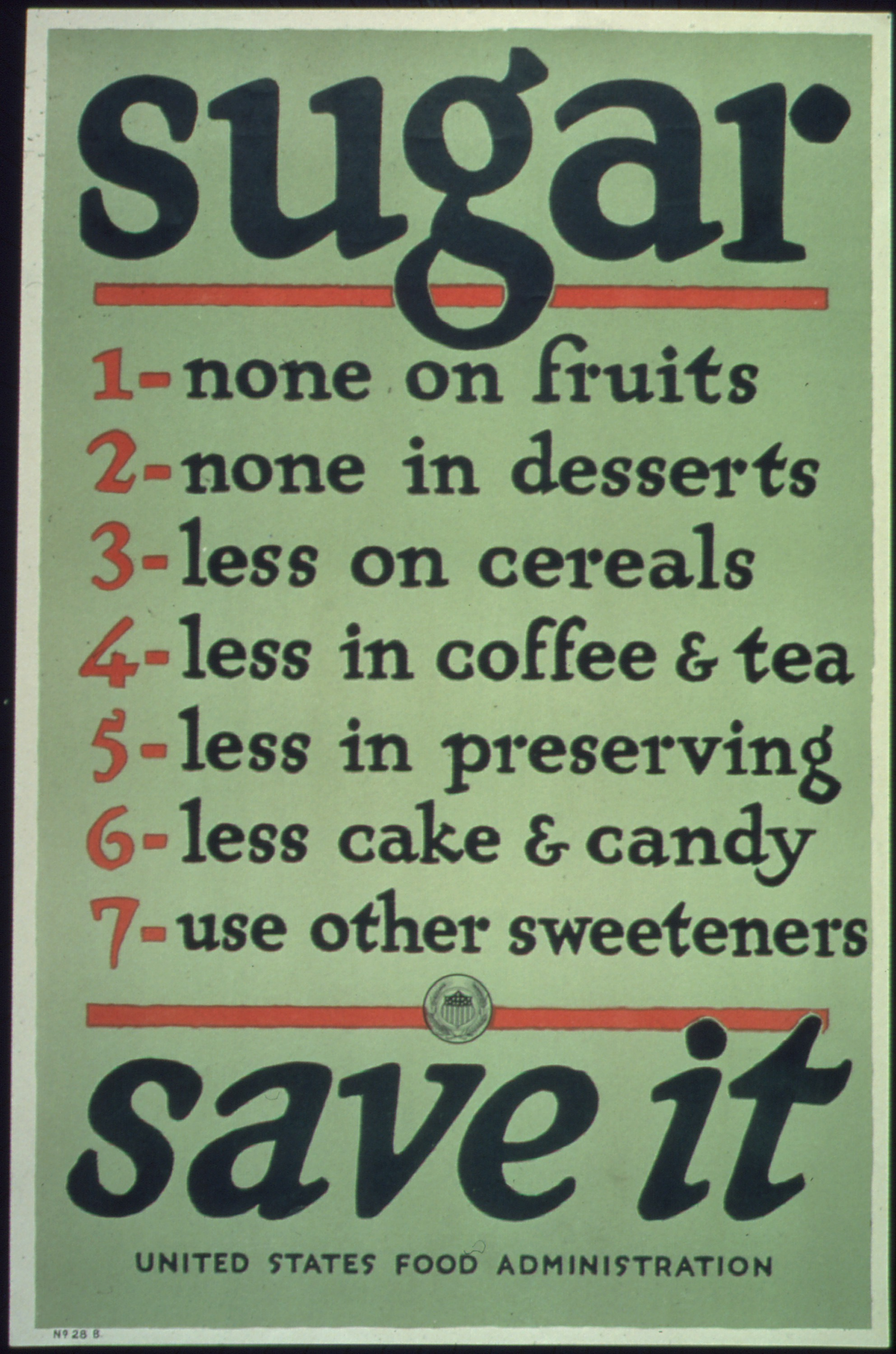 File:Sugar. 1- none on fruits, 2- none in desserts, 3- less on cereals ... Agricultural Adjustment Act Posters