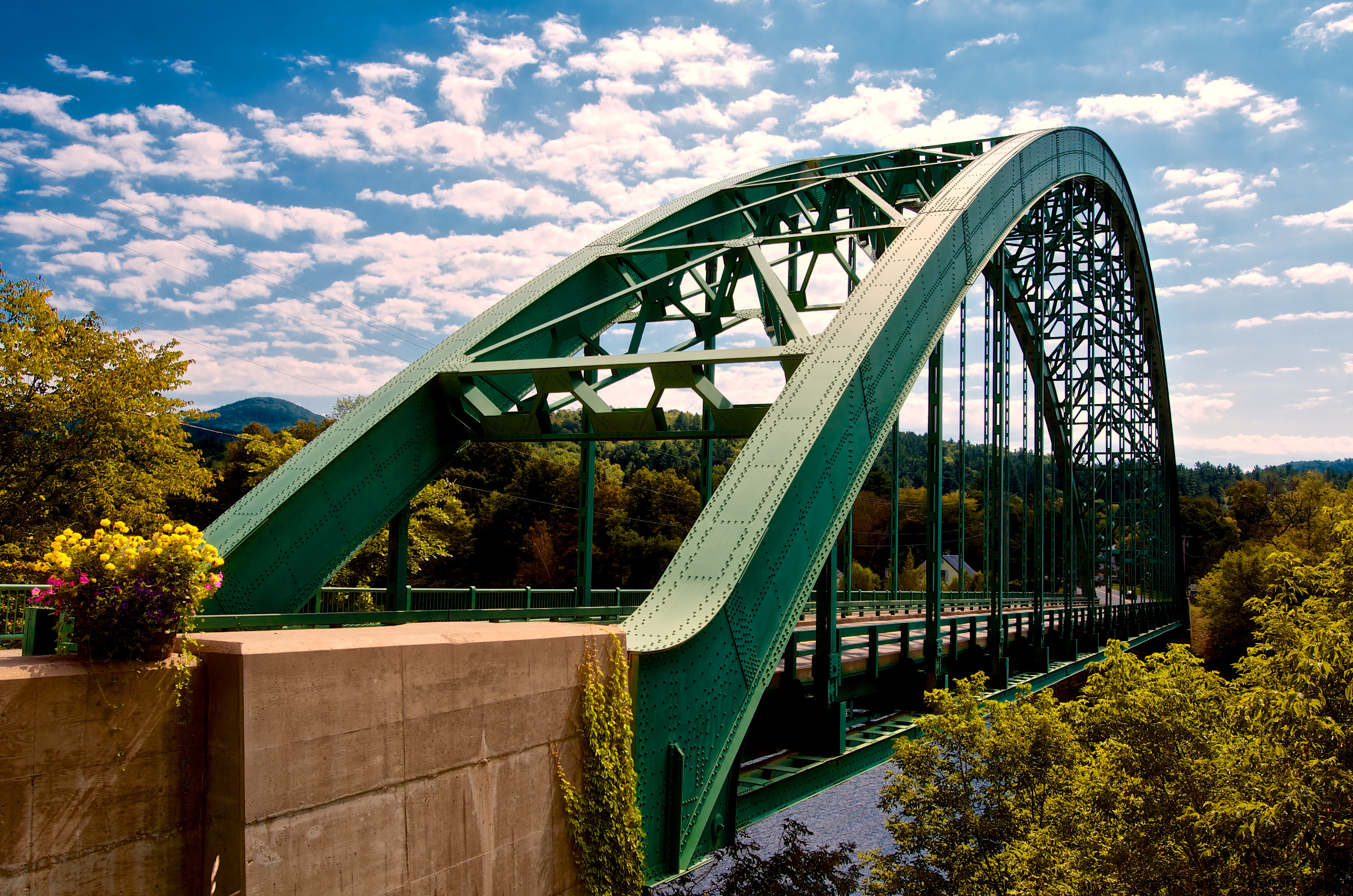 A straight-on view of the iconic Samuel Morey Bridge located in Orford, NH