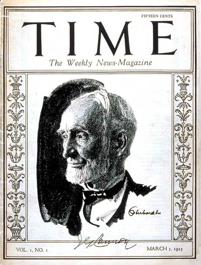 The first issue of Time (March 3, 1923), featuring House Speaker Joseph G. Cannon. Time Magazine - first cover.jpg
