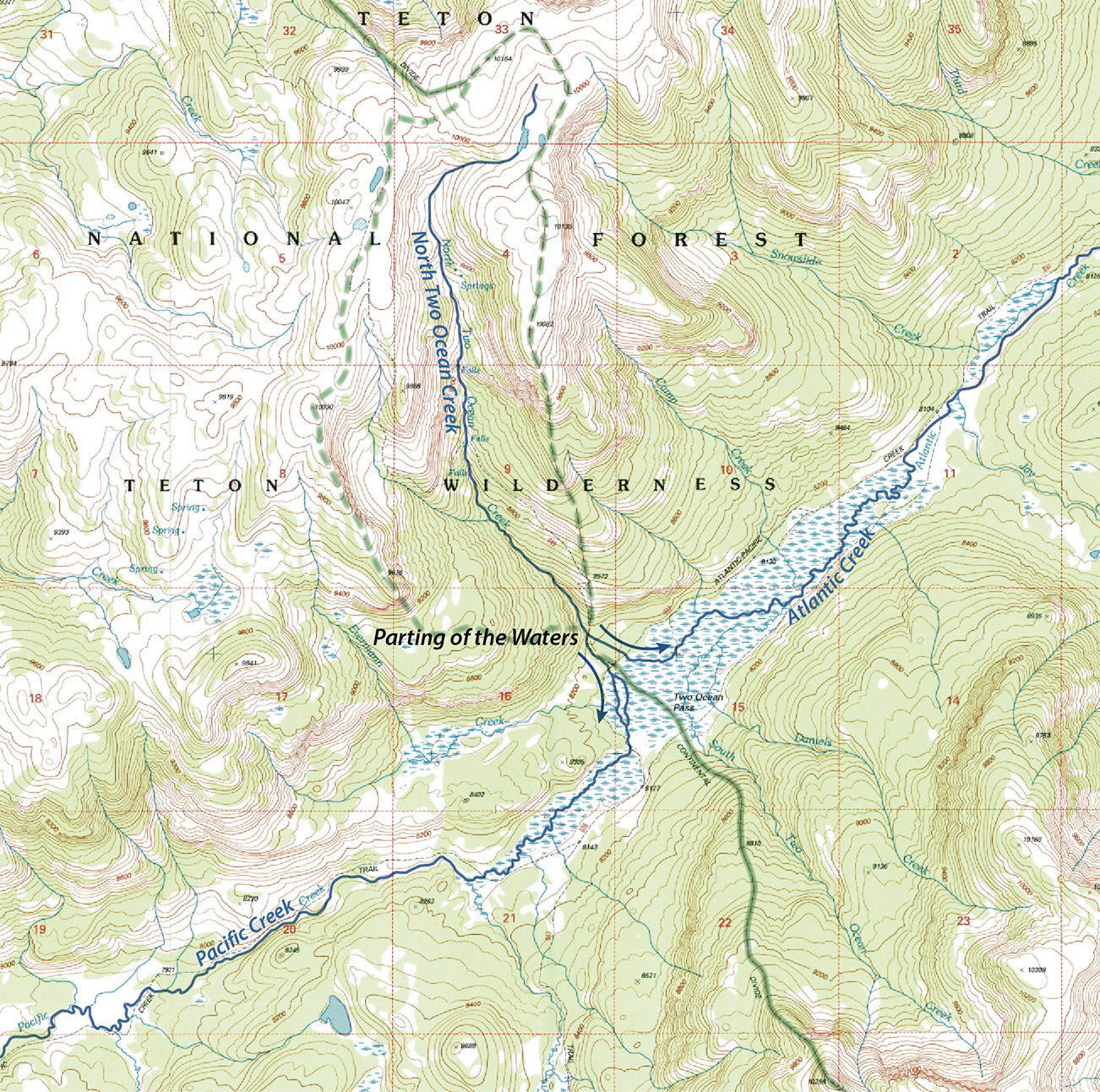 Map of the week continental divide interrupted this joining of waters allows fish such as the cutthroat trout to migrate across the divide from the snake river to yellowstone lake source national park sciox Image collections