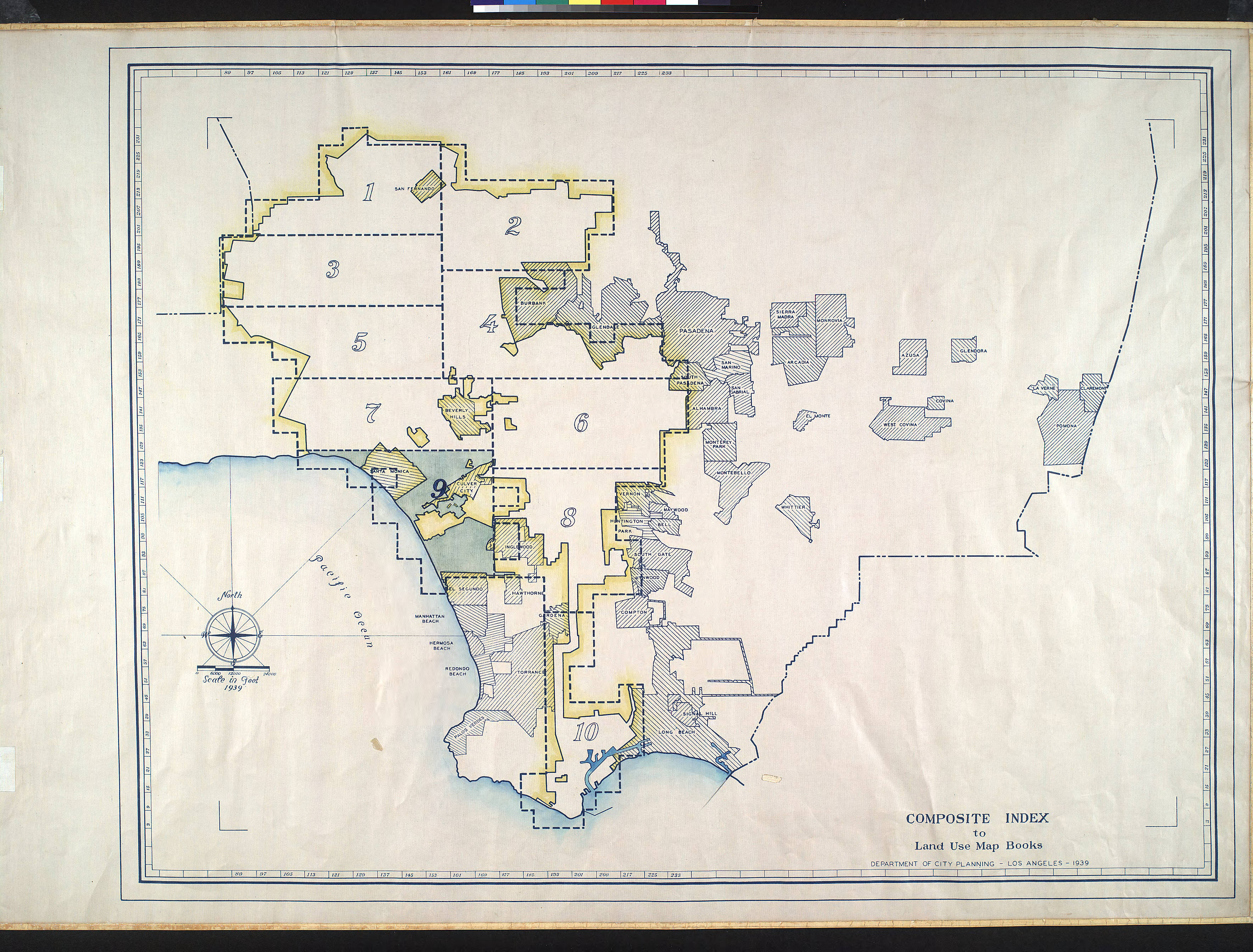 City Of Los Angeles Organizational Chart: WPA Land use survey map for the City of Los Angeles book 9 ,Chart