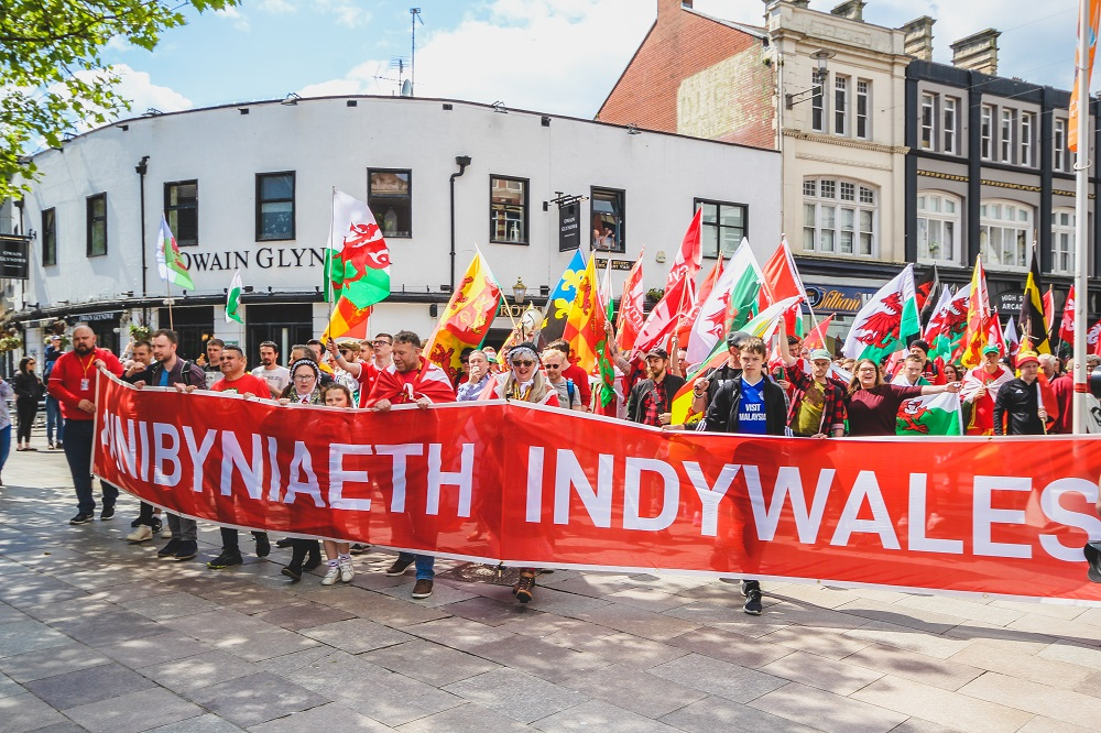 WNP Leader Neil McEvoy at the AUOB Cymru March for Independence in Cardiff, 11 May 2019
