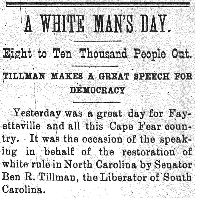 "Image result for The Fayetteville Observer as ""A White Man's Day."""