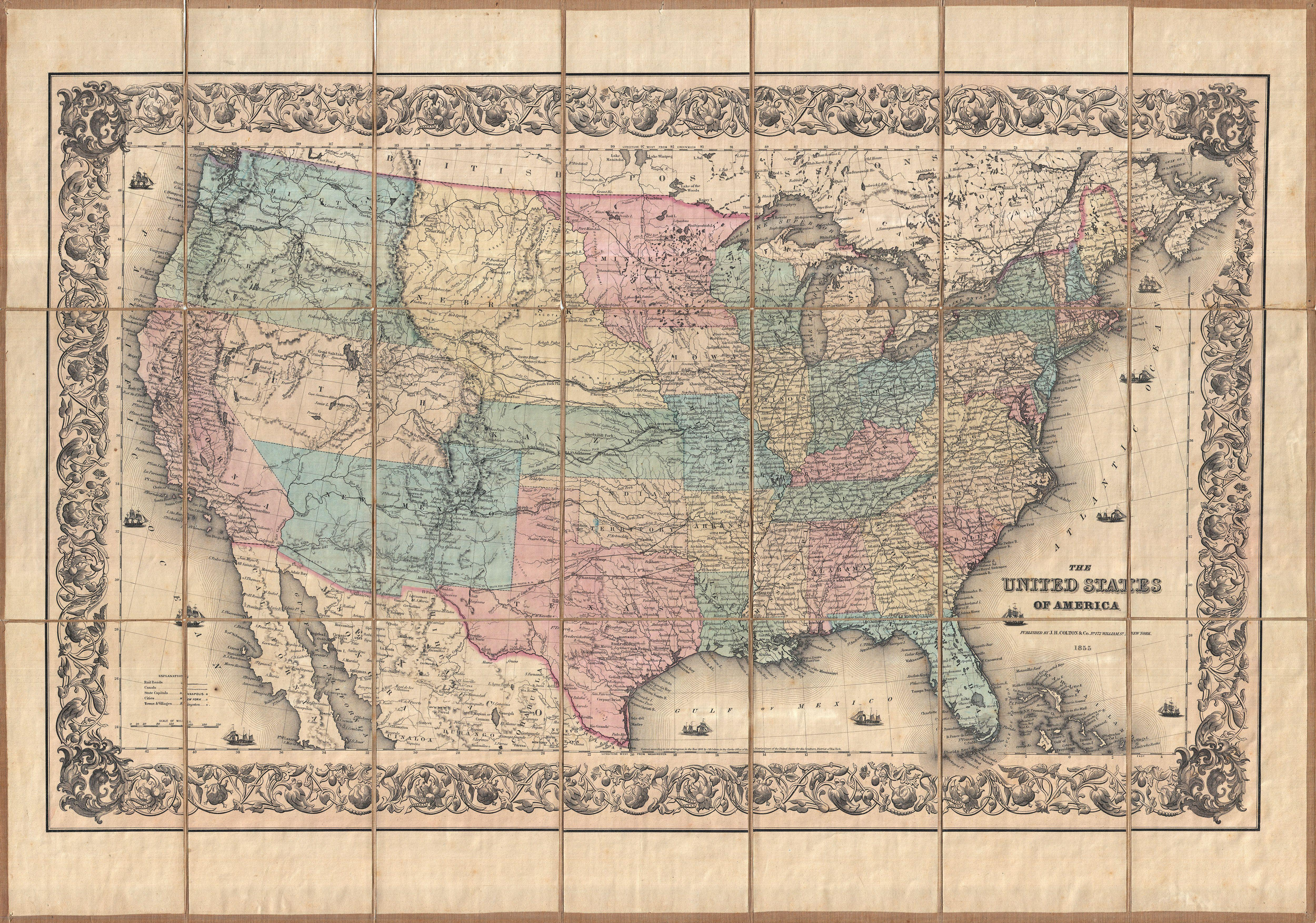 File:1855 Colton Pocket Map of the United States - Geographicus -  UnitedStatesPk-colton