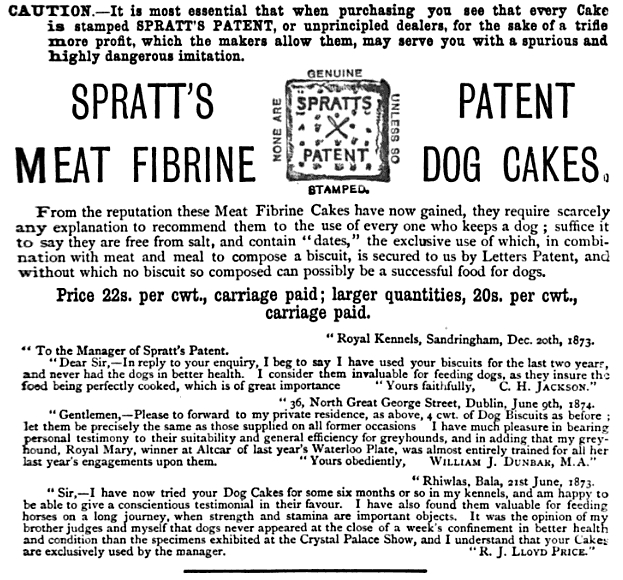1876 ad for Spratt's Patent Meat Fibrine Dog Cakes