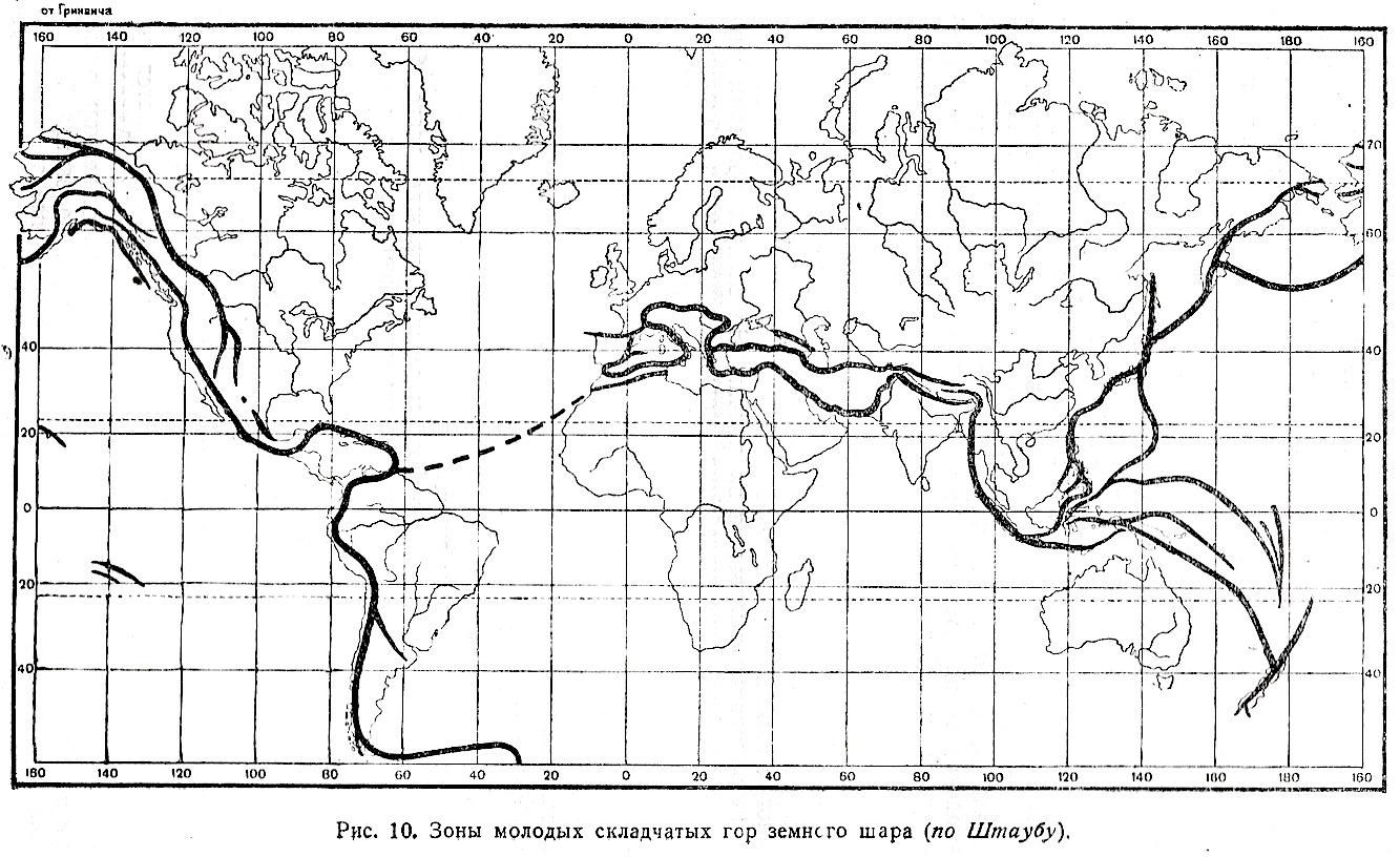 Изображение 10:Зоны молодых складчатых гор земного шара (по Штаубу). Величину изображения можно изменить.