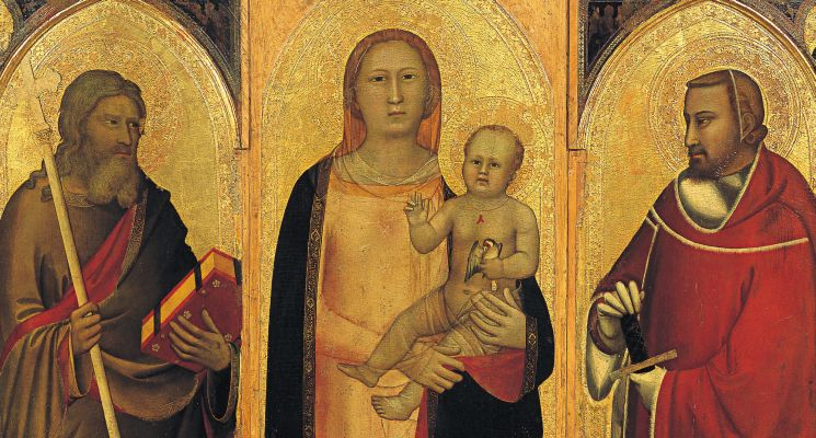 Maso di Banco (attr.), Madonna col Bambino e SS. Maddalena, Caterina d'Alessandria, Andrea e Giuliano, 1340, Chiesa di S. Spirito, Firenze