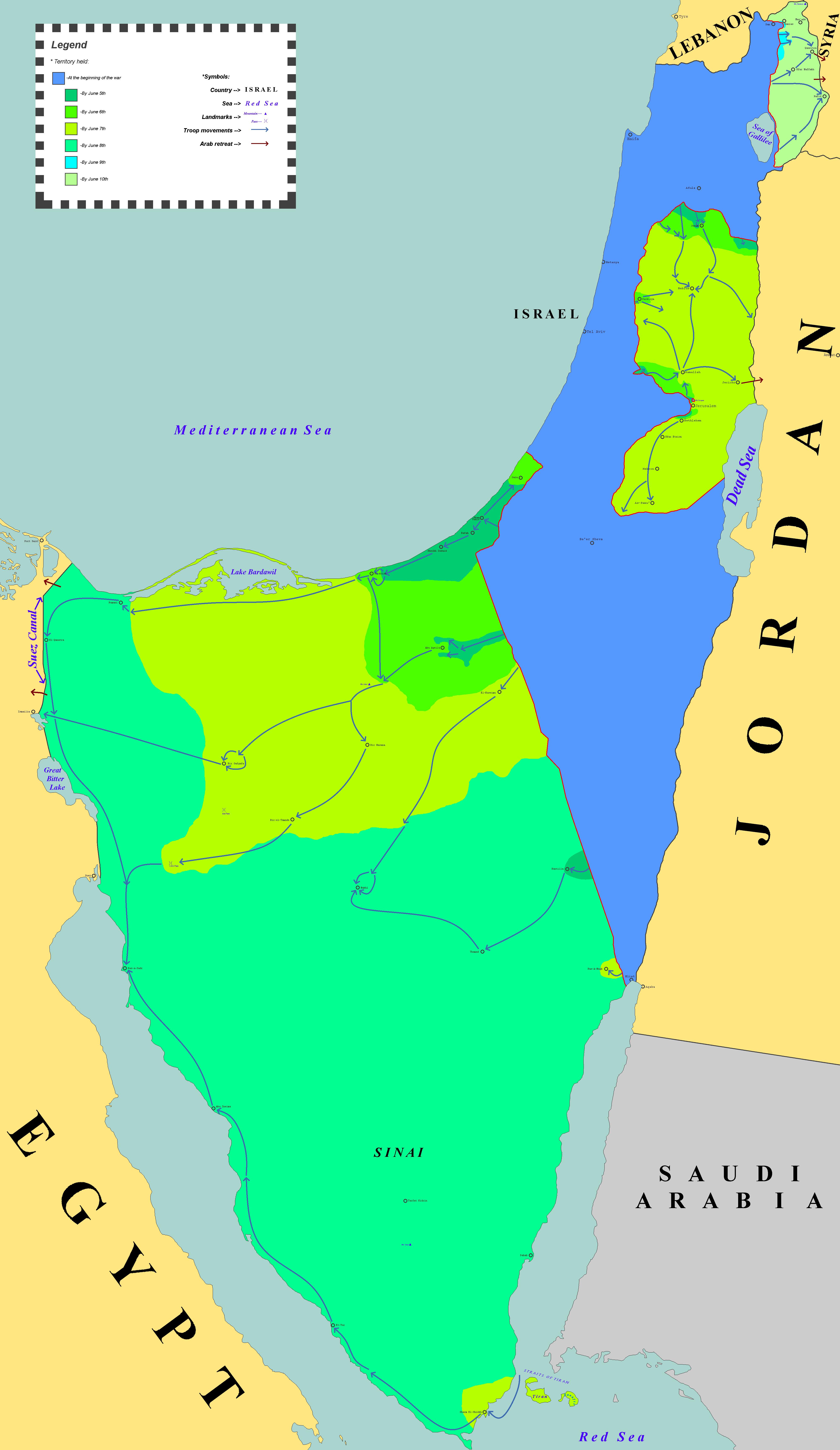 Mapa de la Guerra de los Seis Días (clic para ampliar)
