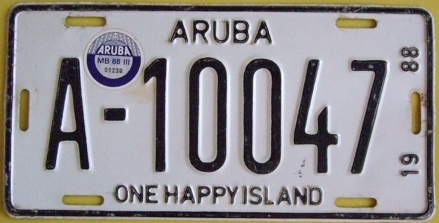 El juego de las imagenes-https://upload.wikimedia.org/wikipedia/commons/9/93/ARUBA_1988_-LICENSE_PLATE_WITH_QUARTER_3_STICKER_%29JUL-SEP_1988%29_PLATE_%5E_A-10047_pic_1_-_Flickr_-_woody1778a.jpg