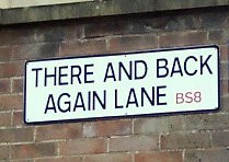 sign to There and Back Again Lane