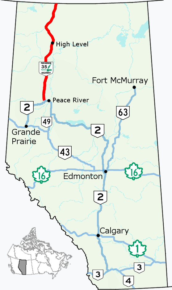Map Of Canada 60th Parallel.Alberta Highway 35 Wikipedia
