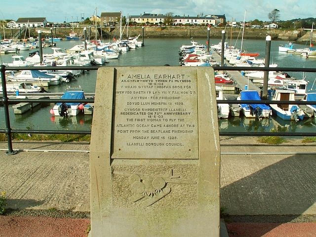 File:Amelia Earhart memorial, Burry Port harbour - geograph.org.uk - 1025606.jpg