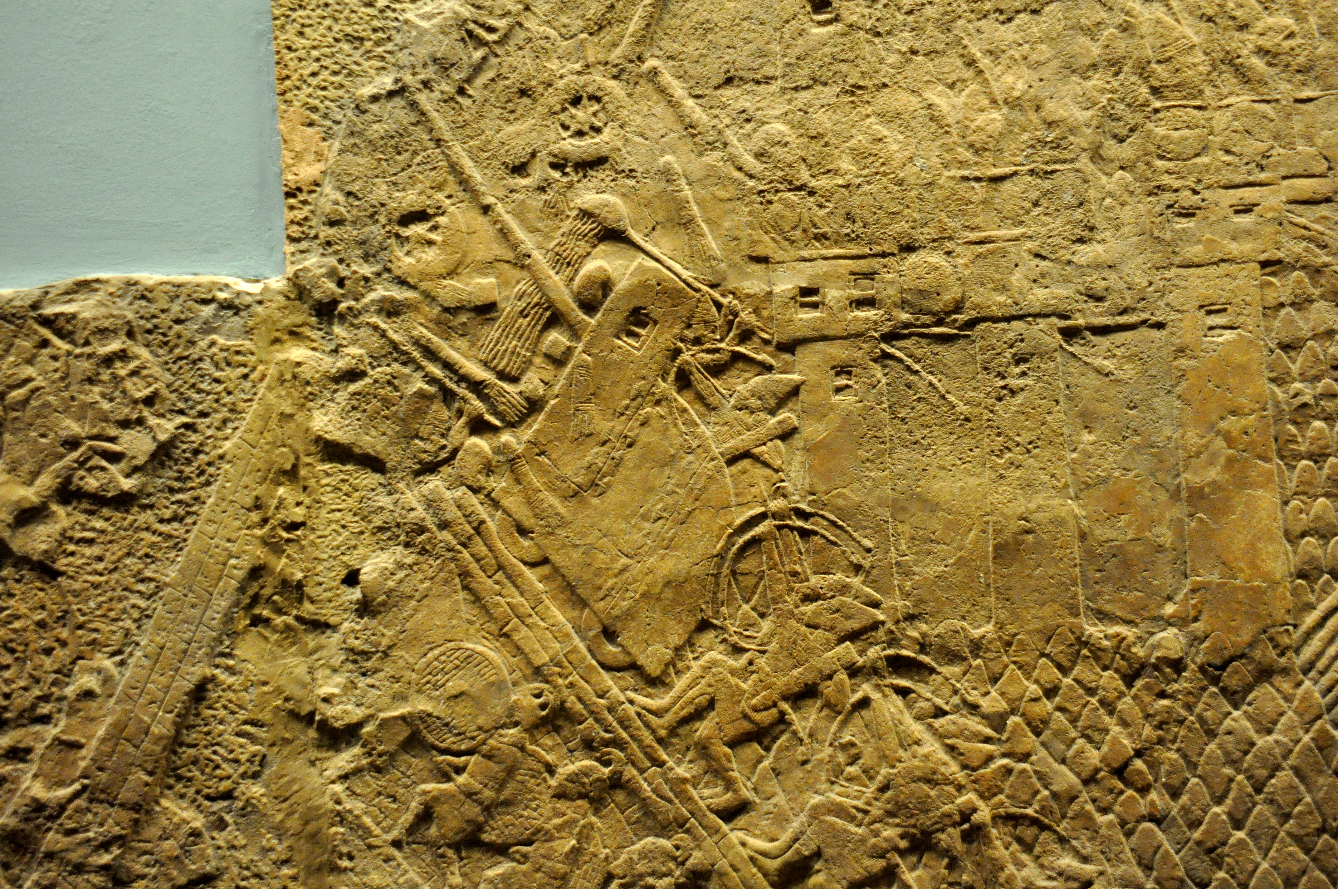 File:Assyrian siege-engine attacking the city wall of Lachish, part ...