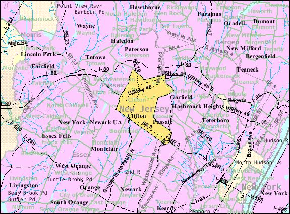 Census Bureau map of Clifton, New Jersey