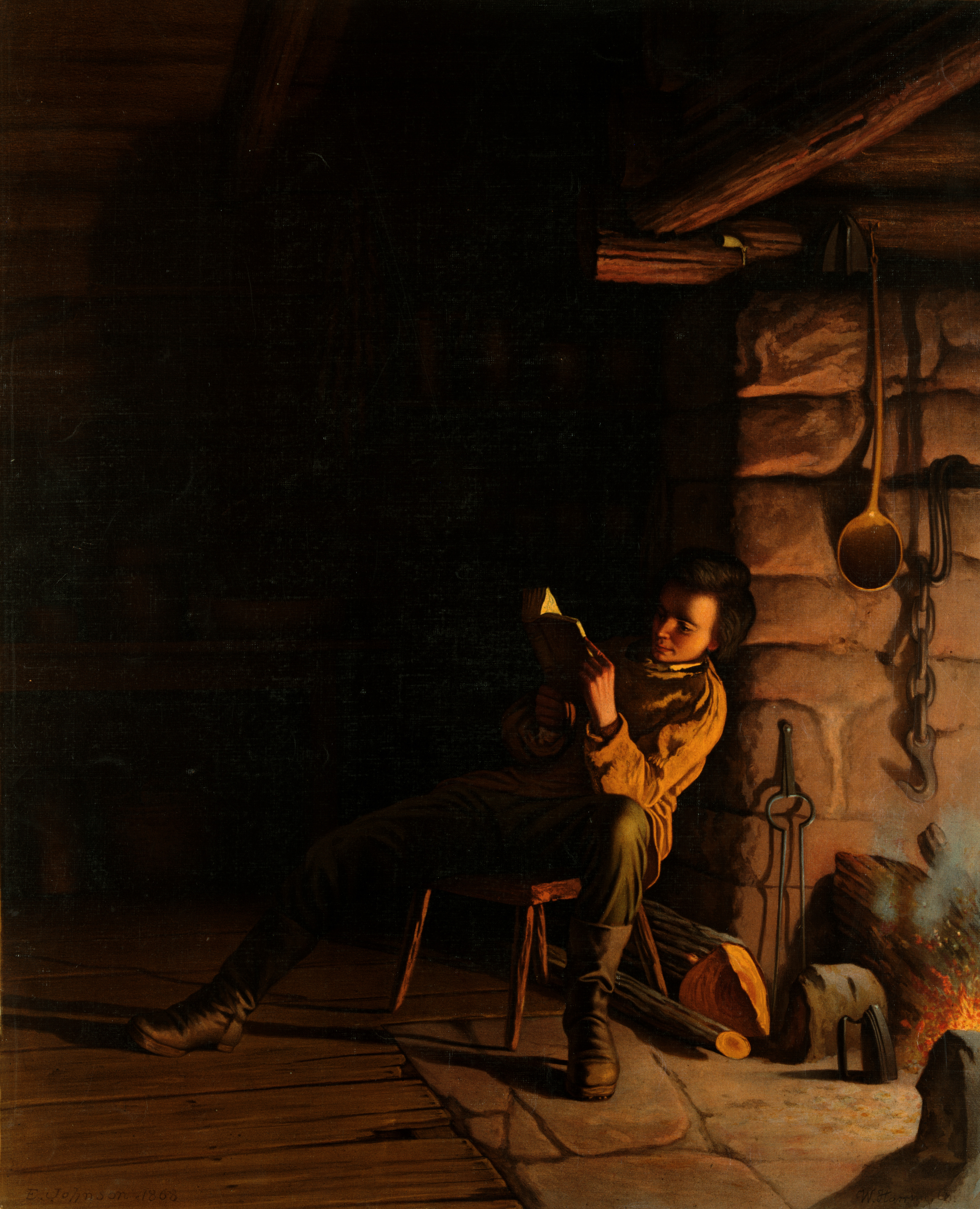 THE BOYHOOD OF ABRAHAM LINCOLN 1868 PAINTING BY EASTMAN JOHNSON BOY READS REPRO