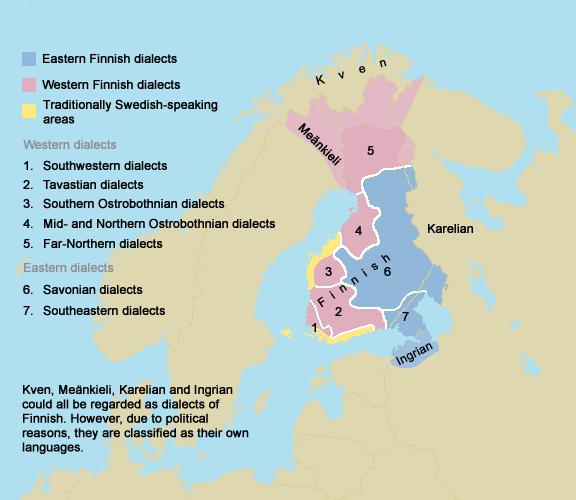 Mapa de lenguas de Finlandia