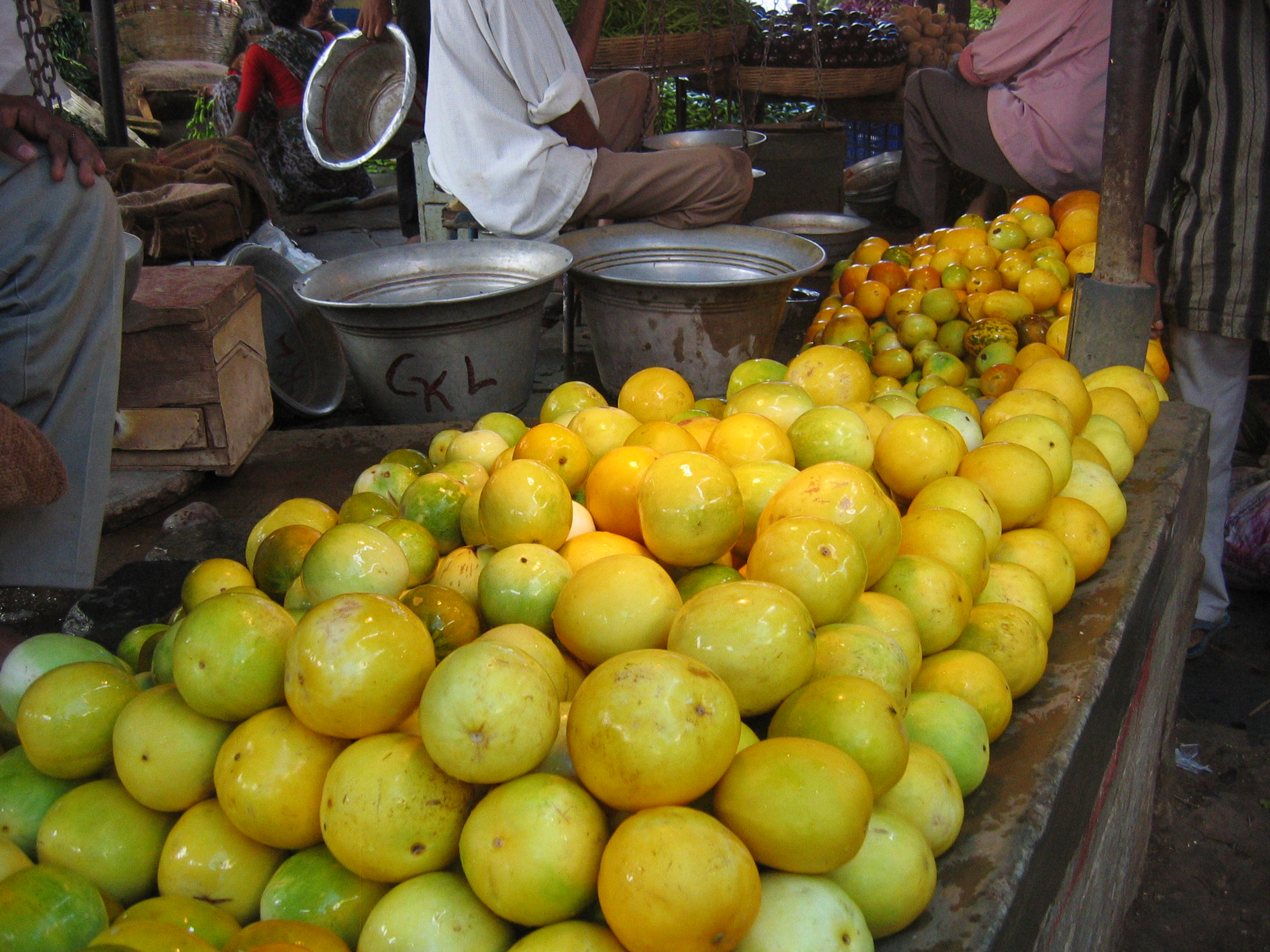 Dosakai is a round, yellow, cucumber seen here at a market in Guntur, India