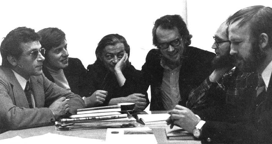 Members of ''Groupe μ'' in 1970: F. Pire, J.-M. Klinkenberg, H. Trinon, J. Dubois, F. Edeline, P. Minguet (left to right).
