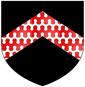 Arms of Hankford of Annery, Devon: Sable, a chevron barry nebuly argent and gules [1]