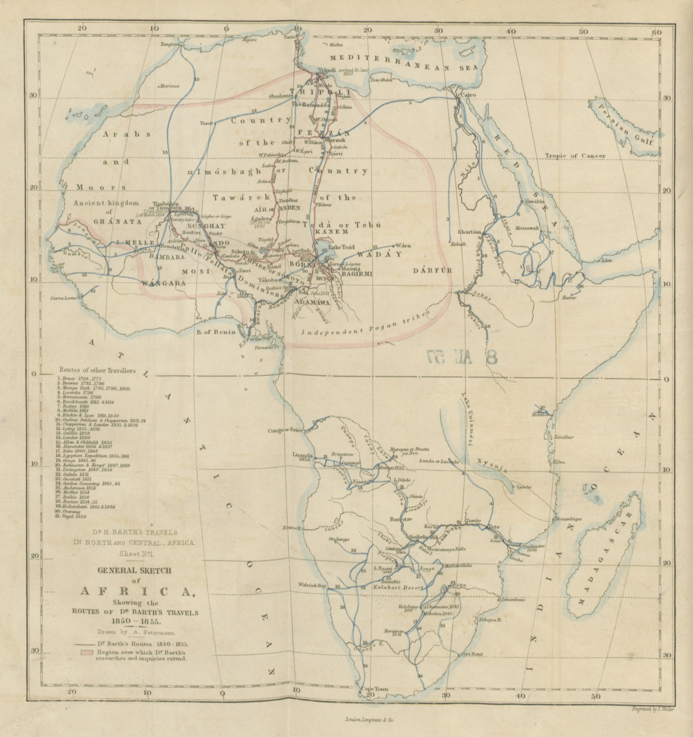 Map Of Africa 1850.File Heinrich Barth S Route Through Africa 1850 To 1855 With