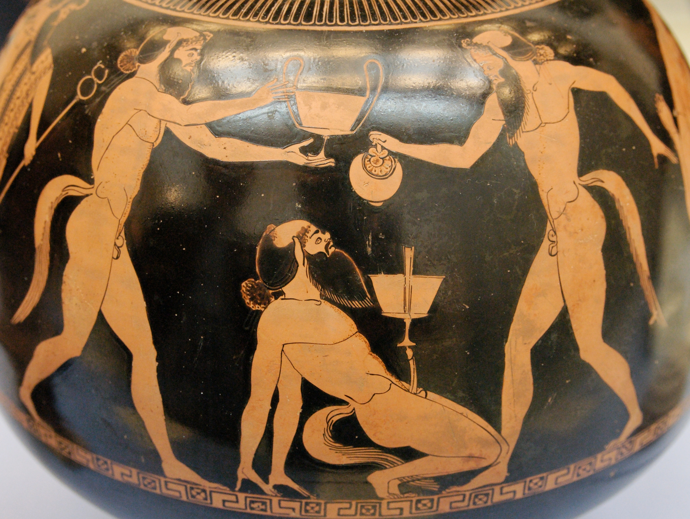 "This picture depicts ""drunk cavorting satyrs"" (wikipedia). The man in"