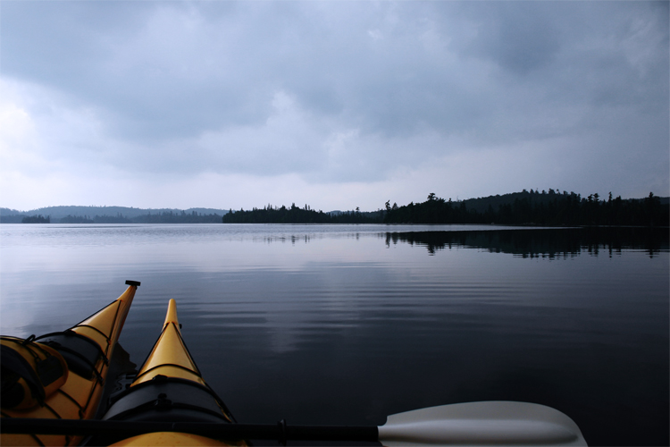 Canoes on Lake Temagami, popular lake and wilderness area in Northern Ontario