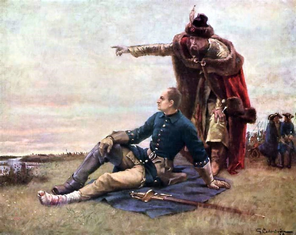 Charles XII and Mazepa at the Dnieper River after Poltava by Gustaf Cederström.