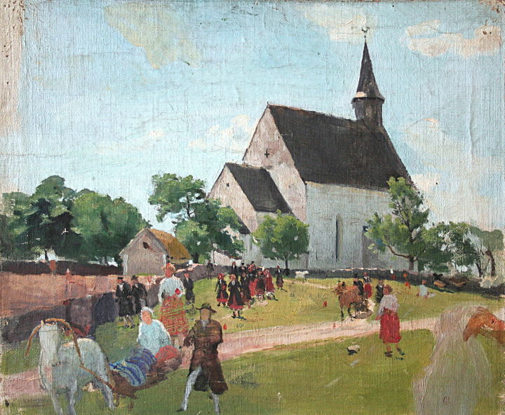 """Tableau de Paul raud """"Muhu kirik"""" : L'église de Muhu"""" au musée d'art Kumu de Tallin."""