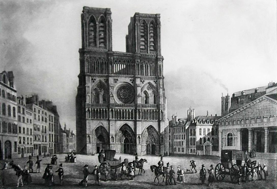 Notre-Dame de Paris avec, à droite, l'ancien hôtel-Dieu démoli par Haussmann