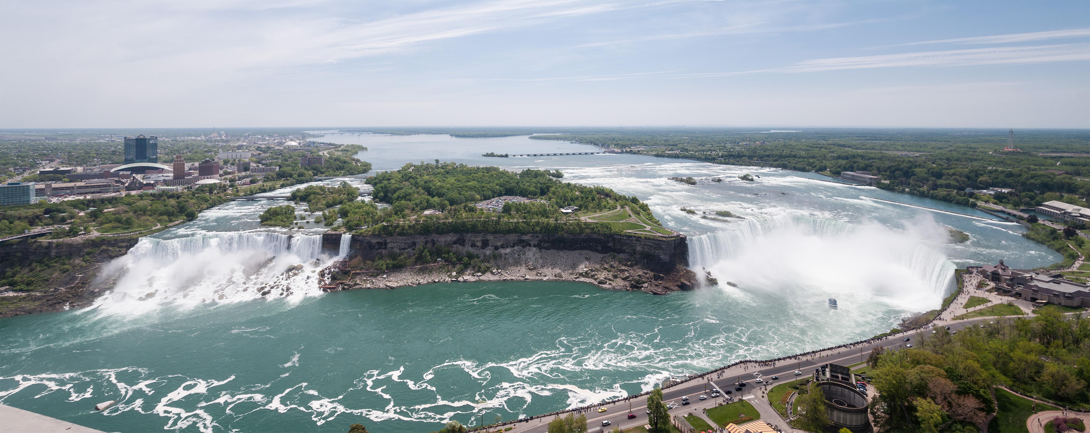 Niagara Falls seen from Skylon Tower, left: Br...