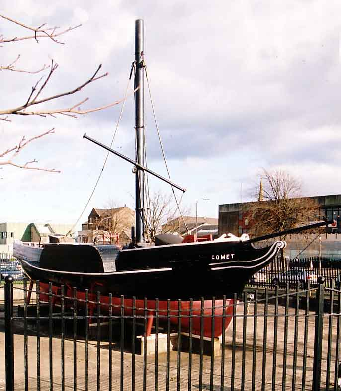 PS Comet, Europe's first commercially successful steamboat, was built in Port Glasgow, and a replica of her made by shipyard apprentices now stands in the town centre.