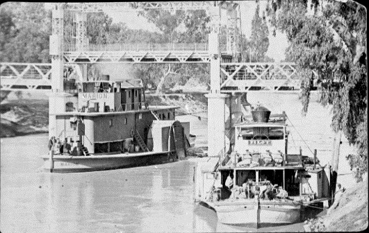 Paddle steamers MARION (left) and PILOT (right) at Wilcannia, NSW (7553109224)