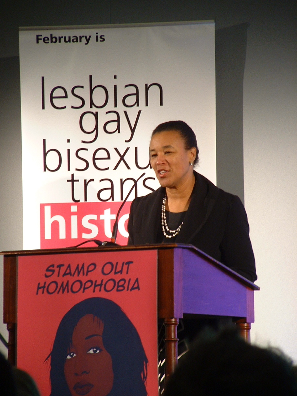 Patricia Scotland, Baroness Scotland of Asthal QC, Attorney General, speaking at the pre-launch of LGBT History Month 08 at the Royal Courts of Justice on 26 November 2007.