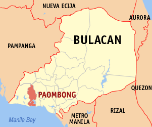 Map of Bulacan showing the location of Paombong