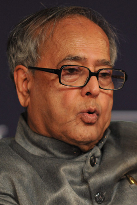 President Pranab Mukherjee, head of state of the Republic of India from July 2012 to July 2017 Pranab Mukherjee-World Economic Forum Annual Meeting Davos 2009 crop(2).jpg