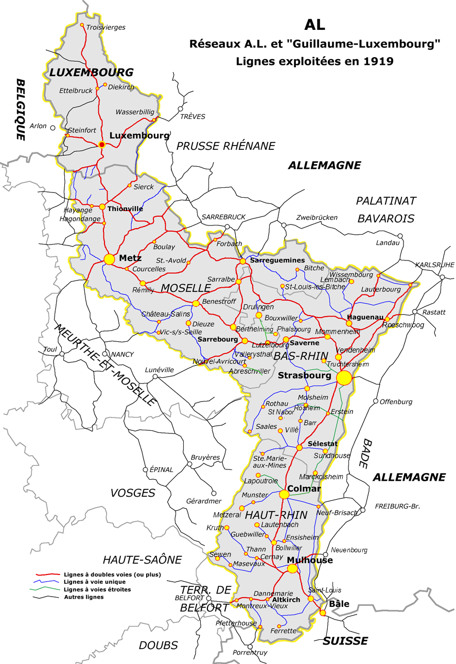Netz der elsaß-lothringischen Eisenbahnen nach dem Ersten Weltkrieg