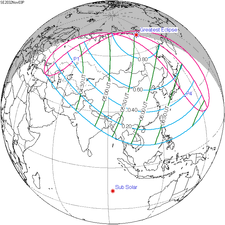 Partial Solar Eclipse Map.Solar Eclipse Of November 3 2032 Wikipedia