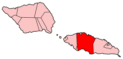 Map of Samoa showing Tuamasaga district.