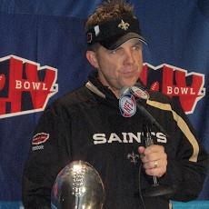 Payton with the Lombardi Trophy after the Saints victory in Super Bowl XLIV