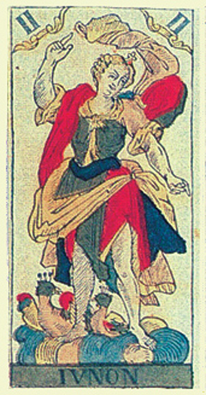 Junon, card II of Tarot de Besançon, 1818, Str...