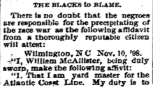 Winston-Salem Journal blames blacks. November 11, 1898.