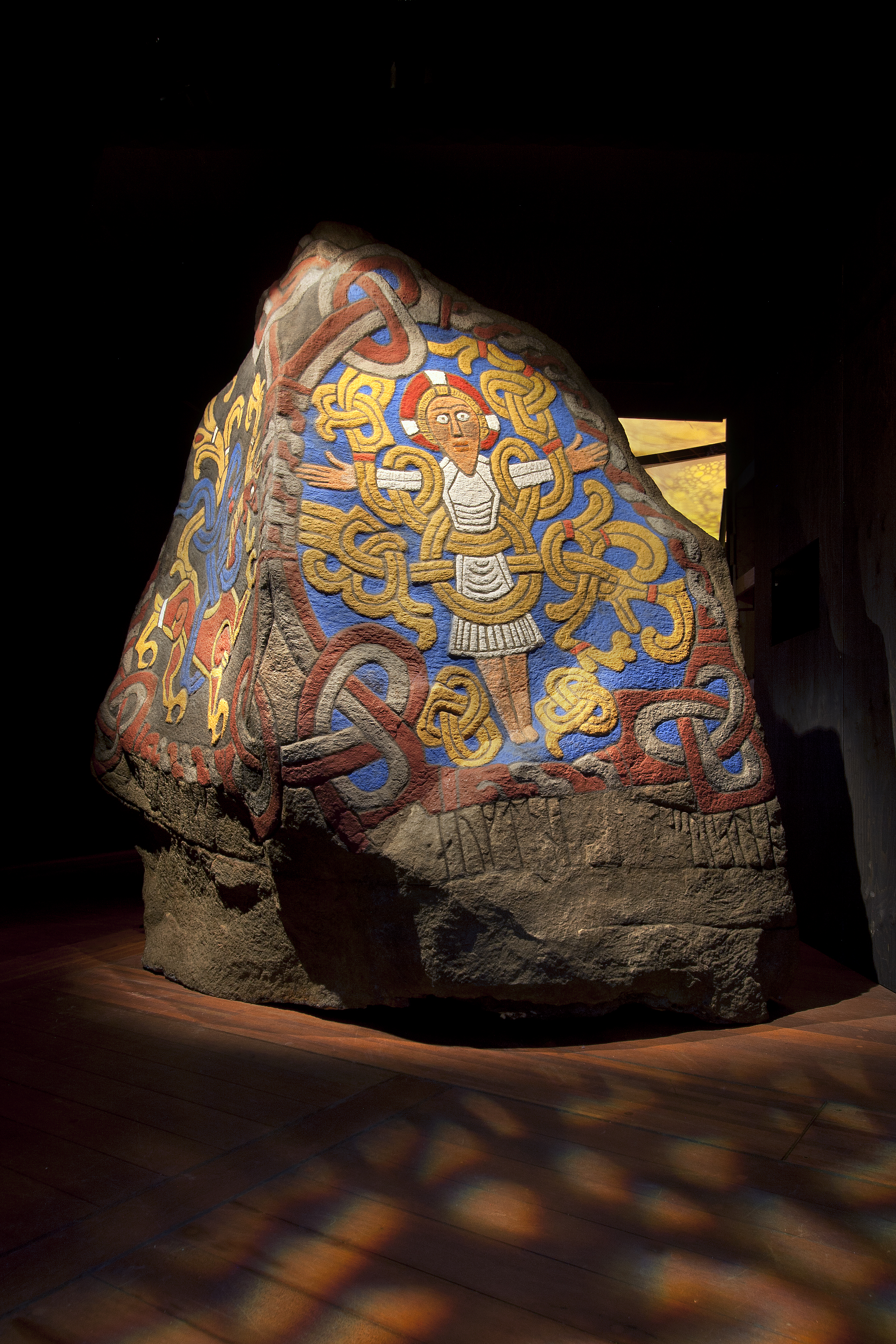 Replica of the Jelling Stone showing how it would have looked with its original paint