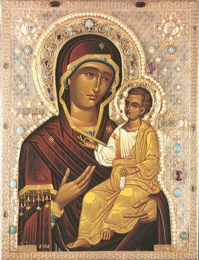 Iverskaja-ikonet av Guds Mor (1000-t), russisk ikon basert på Hodegetria-typen fra klosteret Iviron på Athosfjellet (900-t)