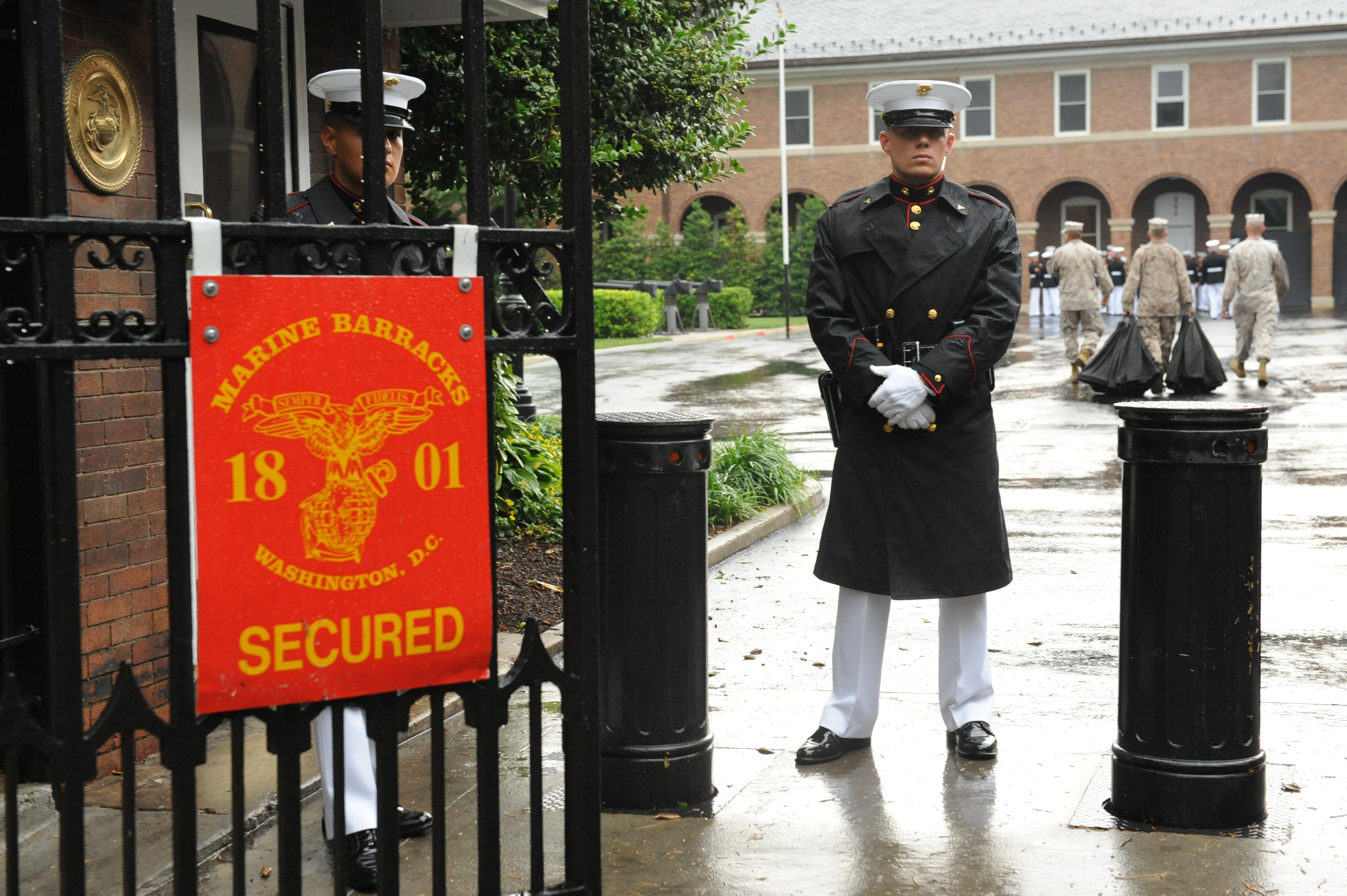 File:U.S. Marines stand guard at an entrance before an evening ...