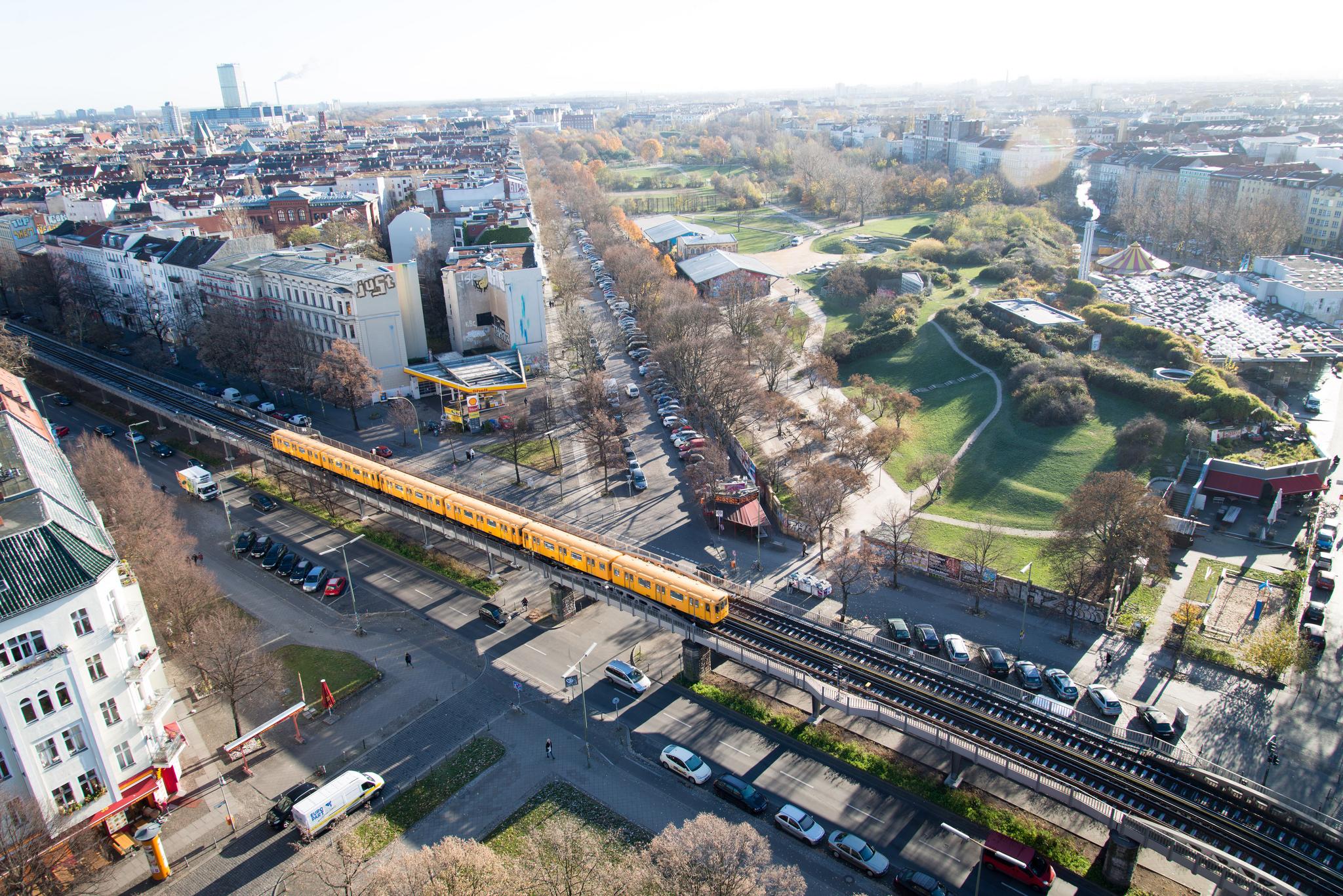 Luftbild des Görlitzer Parks in Kreuzberg