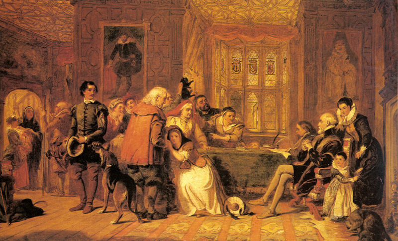 An image of a witch trial by William Powell Frith.
